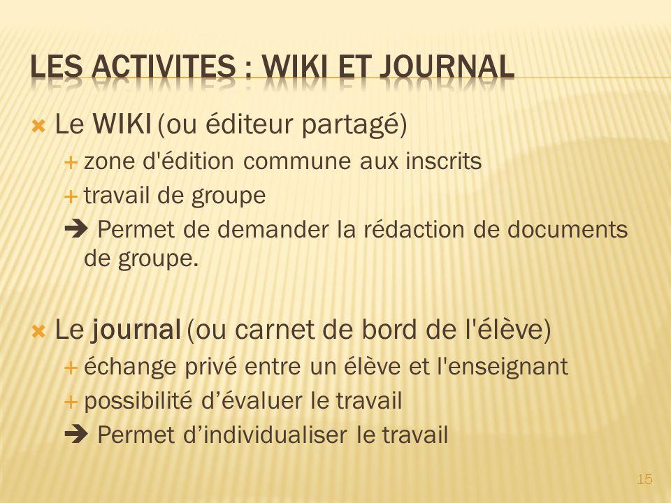 Le WIKI (ou éditeur partagé) zone d'édition commune aux inscrits travail de groupe Permet de demander la rédaction de documents de groupe. Le journal