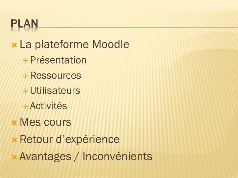 La plateforme Moodle Présentation Ressources Utilisateurs Activités Mes cours Retour dexpérience Avantages / Inconvénients 2
