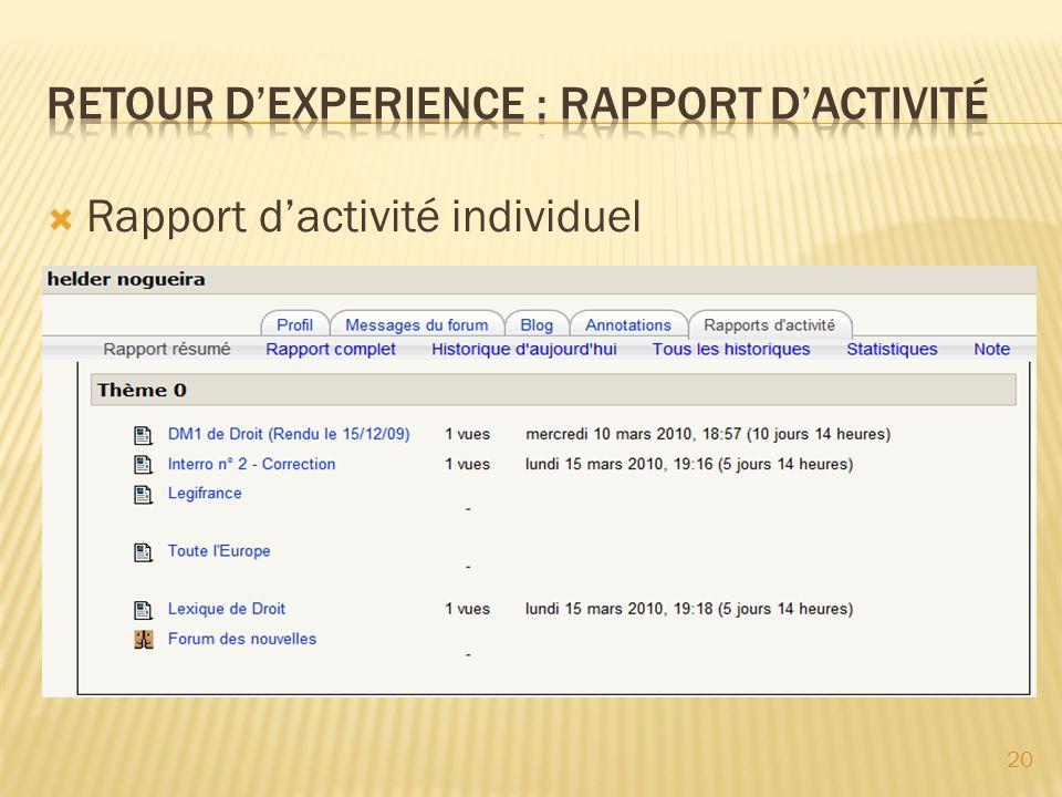 Rapport dactivité individuel 20