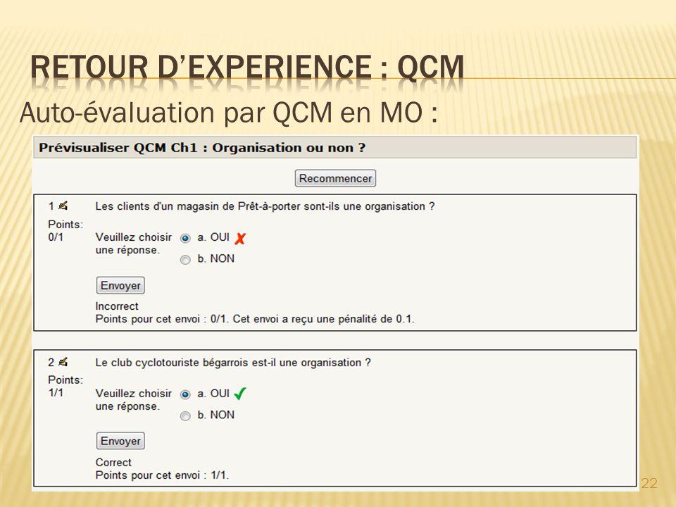 Auto-évaluation par QCM en MO : 22