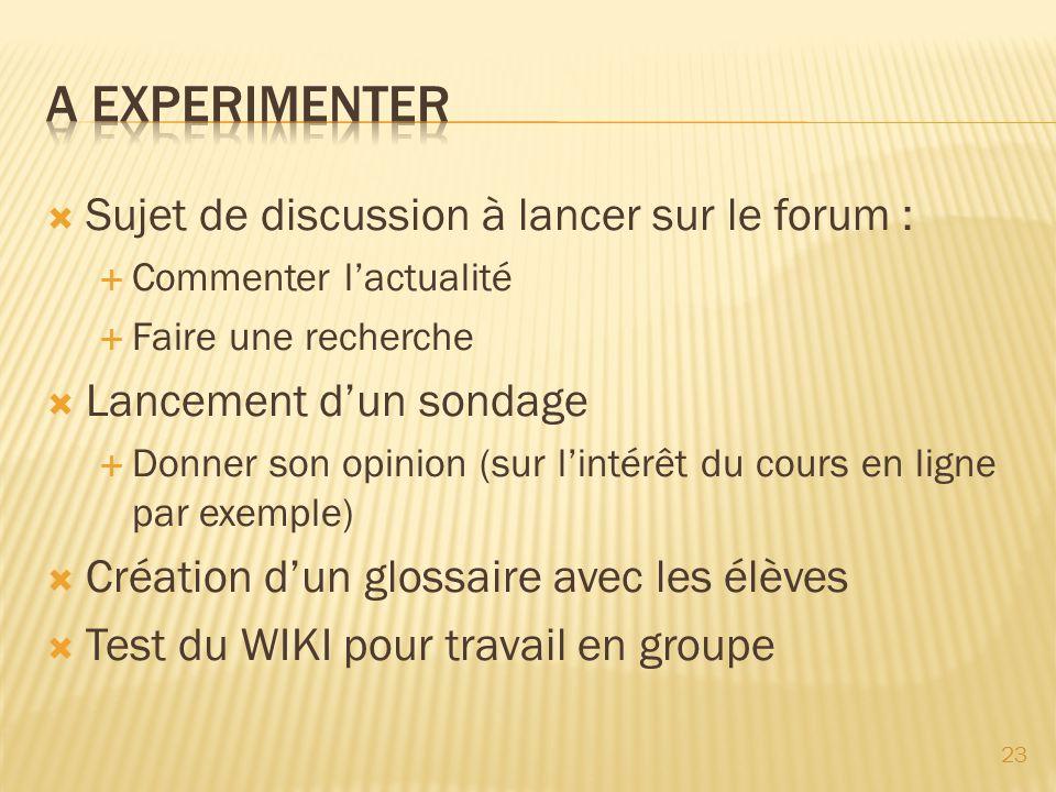 Sujet de discussion à lancer sur le forum : Commenter lactualité Faire une recherche Lancement dun sondage Donner son opinion (sur lintérêt du cours e