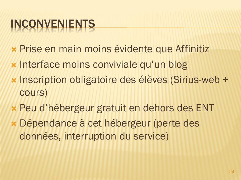 Prise en main moins évidente que Affinitiz Interface moins conviviale quun blog Inscription obligatoire des élèves (Sirius-web + cours) Peu dhébergeur