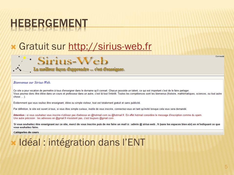 Gratuit sur http://sirius-web.frhttp://sirius-web.fr Idéal : intégration dans lENT 5