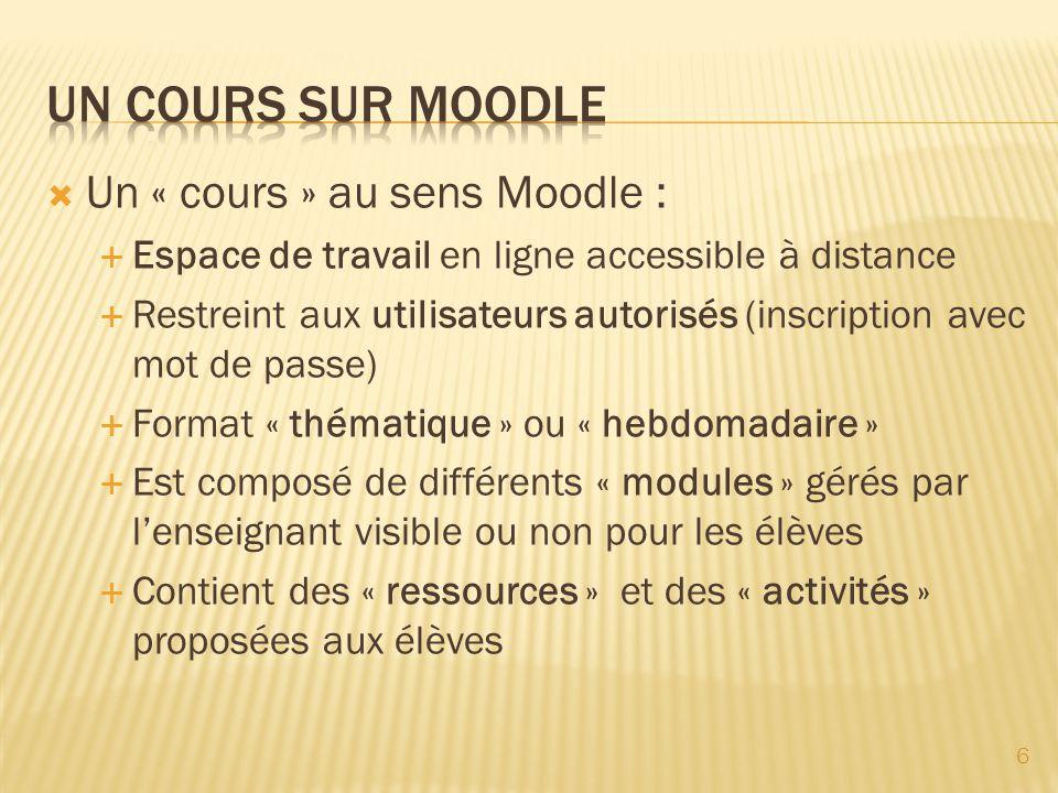 Un « cours » au sens Moodle : Espace de travail en ligne accessible à distance Restreint aux utilisateurs autorisés (inscription avec mot de passe) Fo