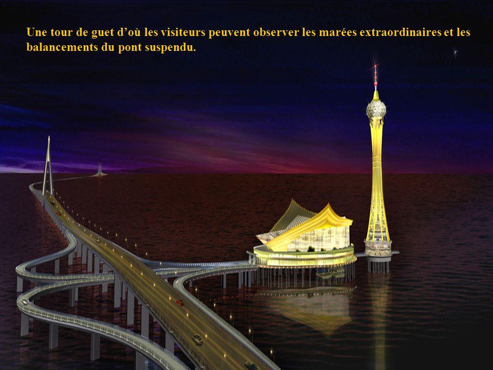 15 Une tour de guet doù les visiteurs peuvent observer les marées extraordinaires et les balancements du pont suspendu.