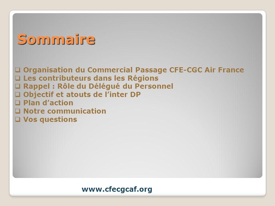 Sommaire Organisation du Commercial Passage CFE-CGC Air France Les contributeurs dans les Régions Rappel : Rôle du Délégué du Personnel Objectif et at