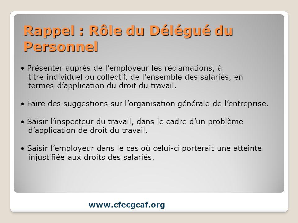 Rappel : Rôle du Délégué du Personnel www.cfecgcaf.org Présenter auprès de lemployeur les réclamations, à titre individuel ou collectif, de lensemble