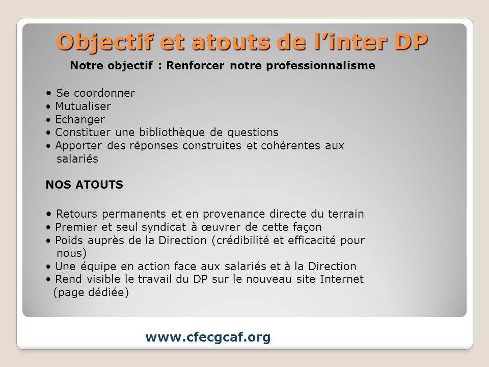 Objectif et atouts de linter DP www.cfecgcaf.org Notre objectif : Renforcer notre professionnalisme Se coordonner Mutualiser Echanger Constituer une b