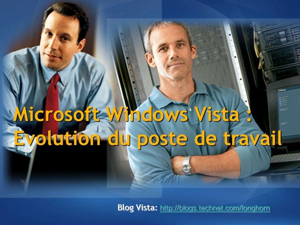 Microsoft Windows Vista : Evolution du poste de travail Blog Vista: http://blogs.technet.com/longhorn http://blogs.technet.com/longhorn