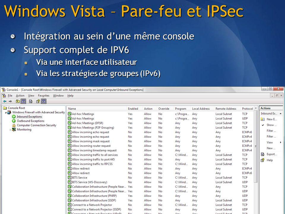 Windows Vista – Pare-feu et IPSec Intégration au sein dune même console Support complet de IPV6 Via une interface utilisateur Via les stratégies de groupes (IPv6)