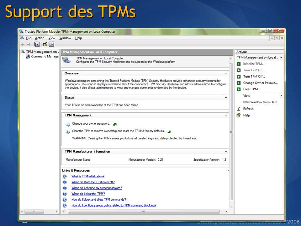 Support des TPMs