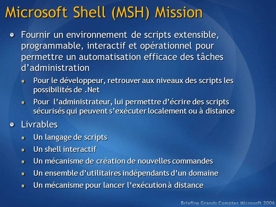 Microsoft Shell (MSH) Mission Fournir un environnement de scripts extensible, programmable, interactif et opérationnel pour permettre un automatisation efficace des tâches dadministration Pour le développeur, retrouver aux niveaux des scripts les possibilités de.Net Pour ladministrateur, lui permettre décrire des scripts sécurisés qui peuvent sexécuter localement ou à distance Livrables Un langage de scripts Un shell interactif Un mécanisme de création de nouvelles commandes Un ensemble dutilitaires indépendants dun domaine Un mécanisme pour lancer lexécution à distance
