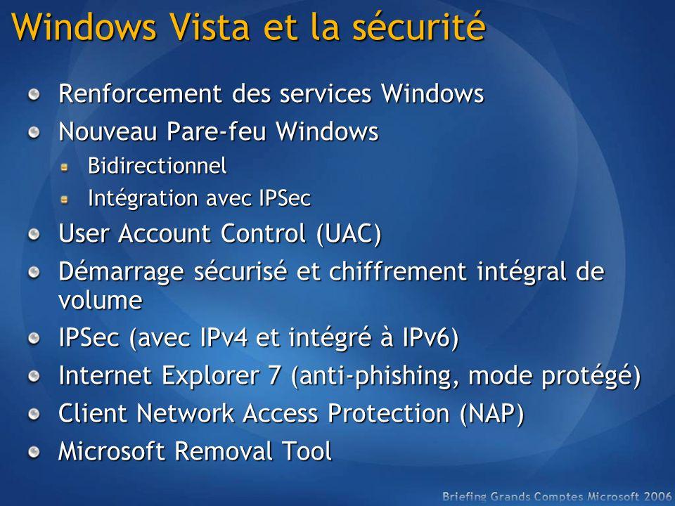 Windows Vista et la sécurité Renforcement des services Windows Nouveau Pare-feu Windows Bidirectionnel Intégration avec IPSec User Account Control (UAC) Démarrage sécurisé et chiffrement intégral de volume IPSec (avec IPv4 et intégré à IPv6) Internet Explorer 7 (anti-phishing, mode protégé) Client Network Access Protection (NAP) Microsoft Removal Tool