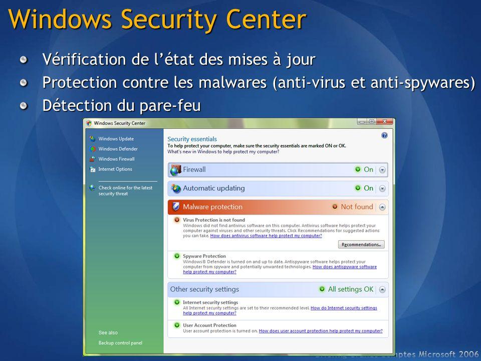 Windows Security Center Vérification de létat des mises à jour Protection contre les malwares (anti-virus et anti-spywares) Détection du pare-feu