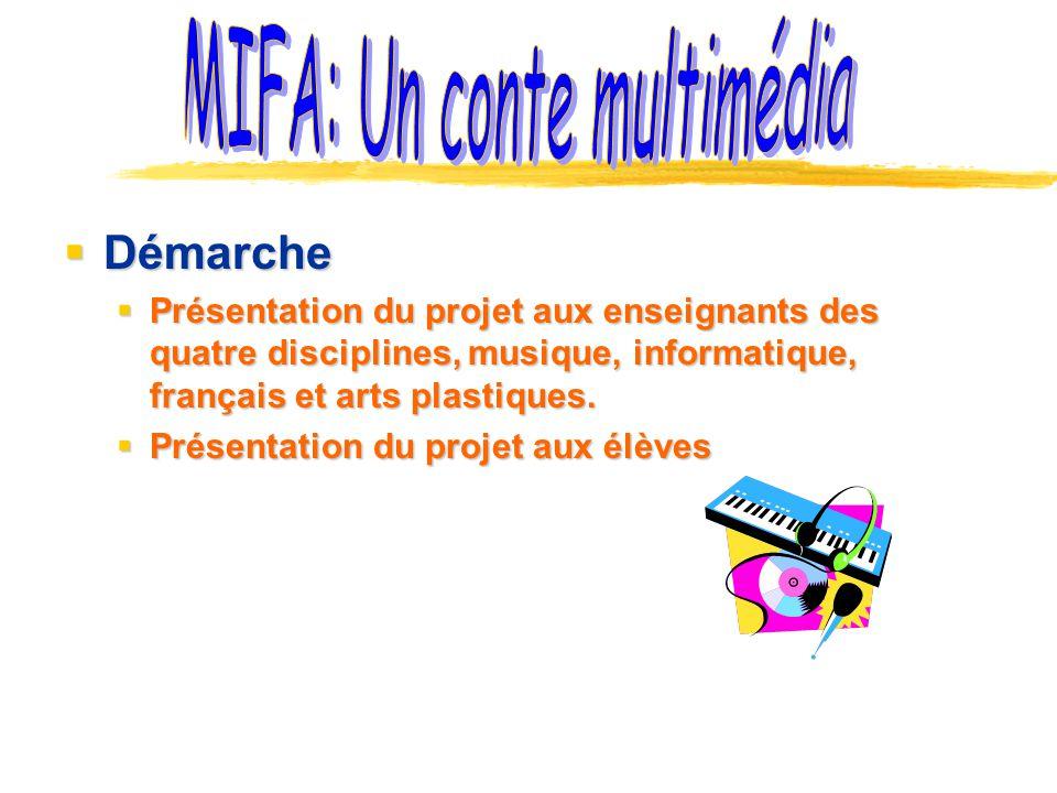 Démarche Démarche Présentation du projet aux enseignants des quatre disciplines, musique, informatique, français et arts plastiques. Présentation du p