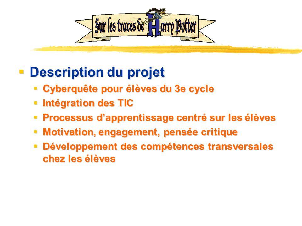 Description du projet Description du projet Cyberquête pour élèves du 3e cycle Cyberquête pour élèves du 3e cycle Intégration des TIC Intégration des