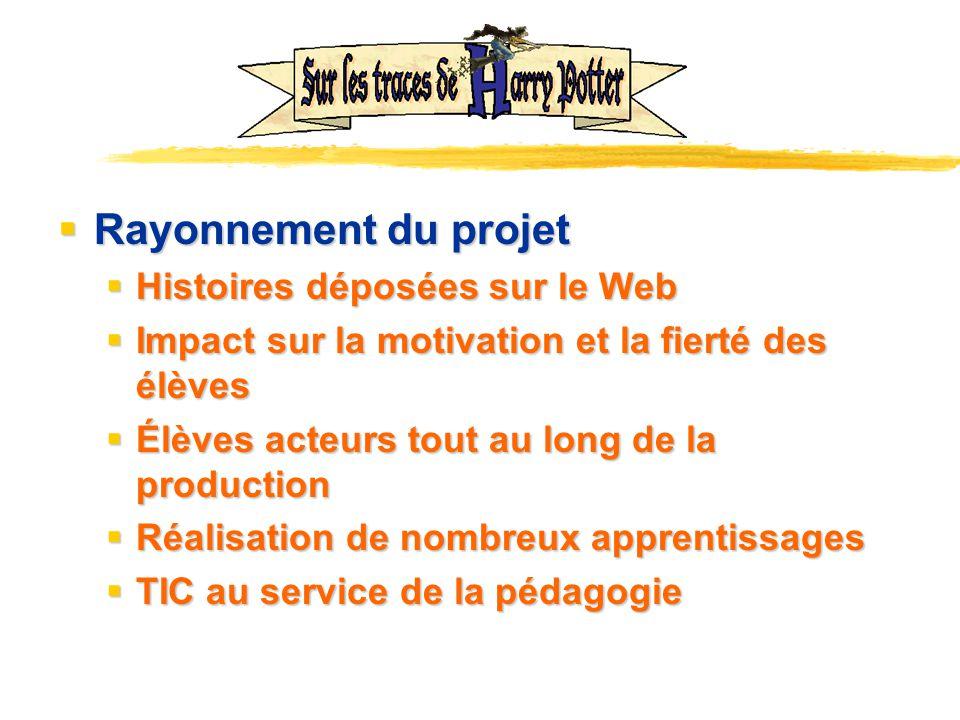 Rayonnement du projet Rayonnement du projet Histoires déposées sur le Web Histoires déposées sur le Web Impact sur la motivation et la fierté des élèv