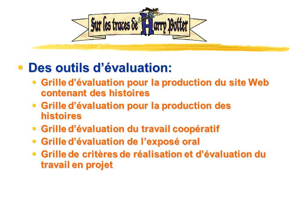 Des outils dévaluation: Des outils dévaluation: Grille dévaluation pour la production du site Web contenant des histoires Grille dévaluation pour la p