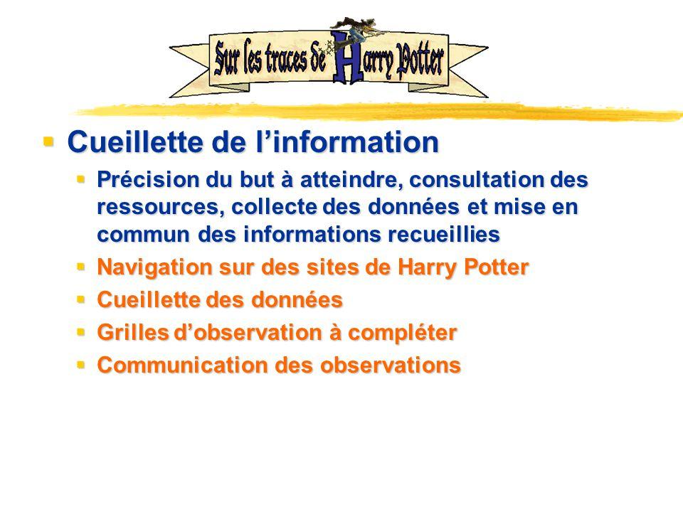 Cueillette de linformation Cueillette de linformation Précision du but à atteindre, consultation des ressources, collecte des données et mise en commu
