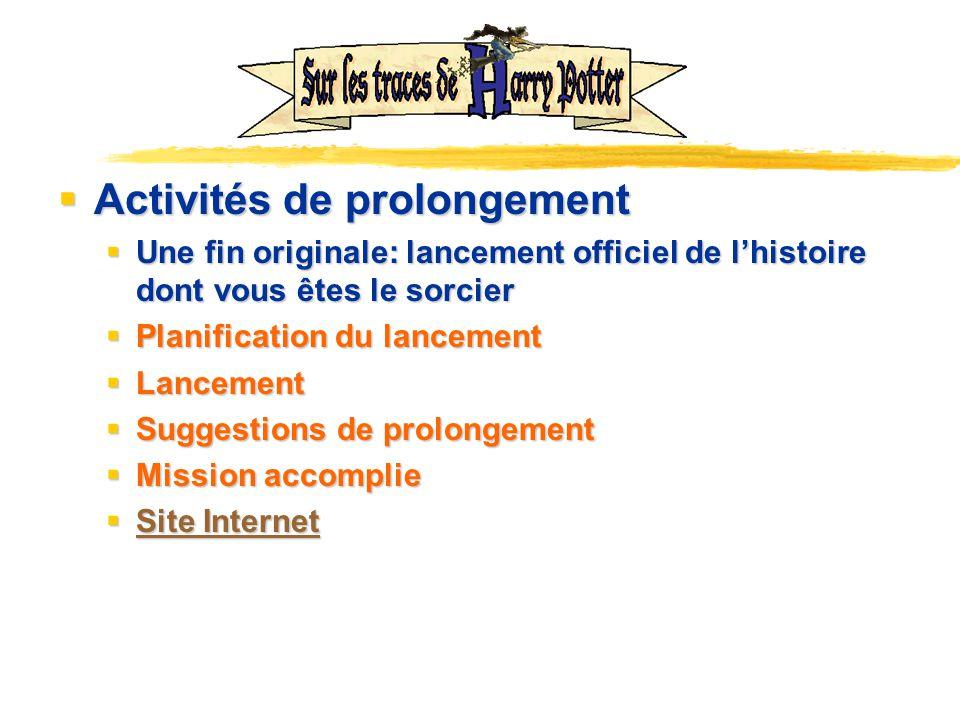 Activités de prolongement Activités de prolongement Une fin originale: lancement officiel de lhistoire dont vous êtes le sorcier Une fin originale: la