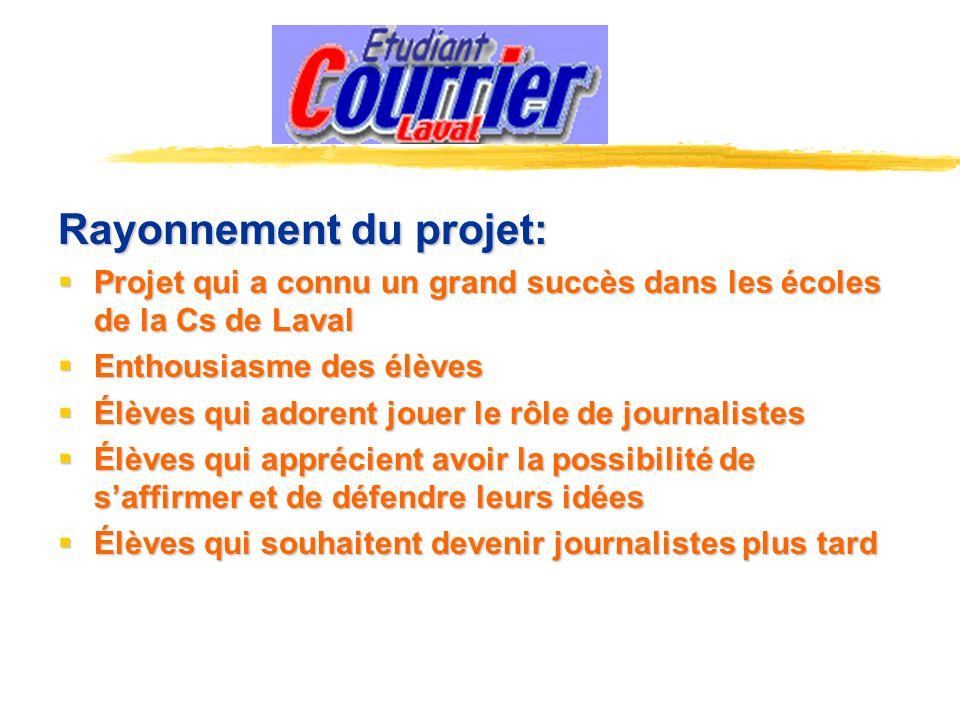 Rayonnement du projet: Projet qui a connu un grand succès dans les écoles de la Cs de Laval Projet qui a connu un grand succès dans les écoles de la C