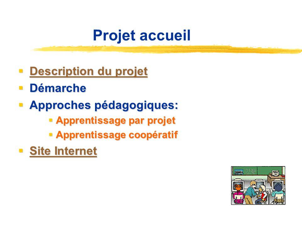 Projet accueil Description du projet Description du projet Description du projet Description du projet Démarche Démarche Approches pédagogiques: Appro