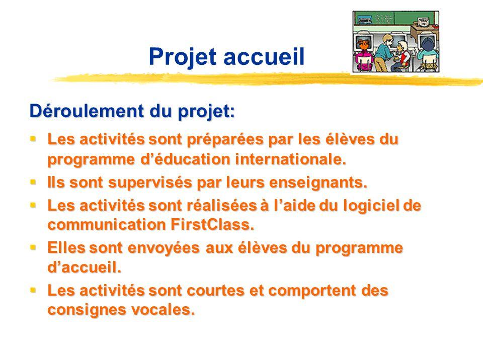 Projet accueil Déroulement du projet: Les activités sont préparées par les élèves du programme déducation internationale. Les activités sont préparées