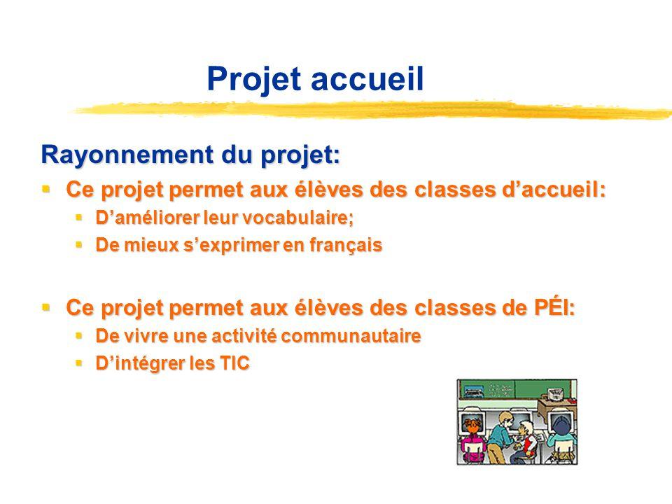 Projet accueil Rayonnement du projet: Ce projet permet aux élèves des classes daccueil: Ce projet permet aux élèves des classes daccueil: Daméliorer l
