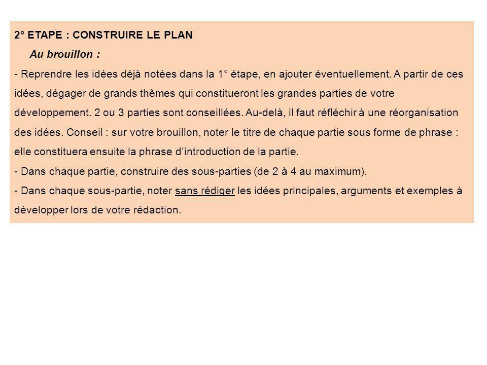 2° ETAPE : CONSTRUIRE LE PLAN Au brouillon : - Reprendre les idées déjà notées dans la 1° étape, en ajouter éventuellement. A partir de ces idées, dég