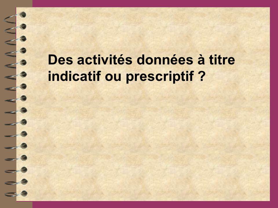 Des activités données à titre indicatif ou prescriptif ?