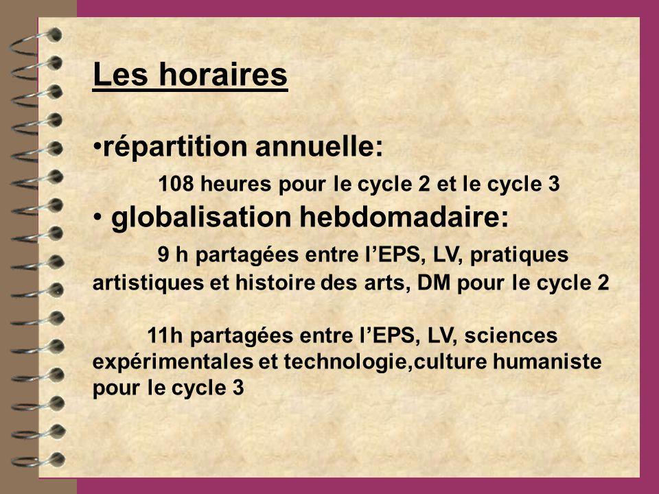 Les horaires répartition annuelle: 108 heures pour le cycle 2 et le cycle 3 globalisation hebdomadaire: 9 h partagées entre lEPS, LV, pratiques artistiques et histoire des arts, DM pour le cycle 2 11h partagées entre lEPS, LV, sciences expérimentales et technologie,culture humaniste pour le cycle 3