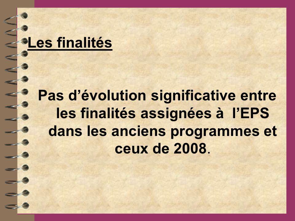 Les finalités Pas dévolution significative entre les finalités assignées à lEPS dans les anciens programmes et ceux de 2008.
