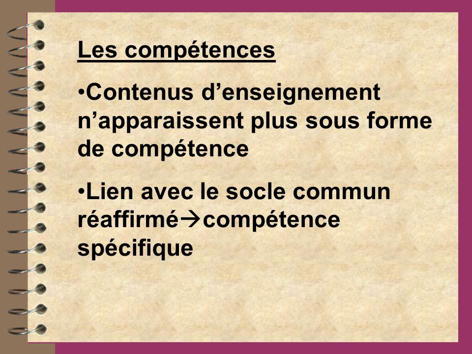 Les compétences Contenus denseignement napparaissent plus sous forme de compétence Lien avec le socle commun réaffirmé compétence spécifique
