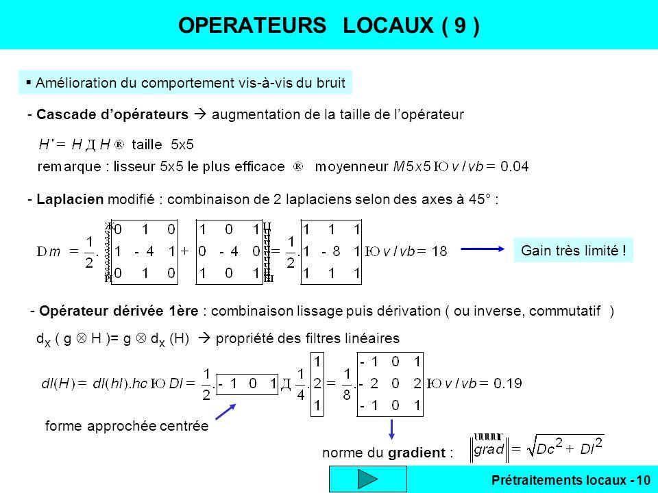 Prétraitements locaux - 10 OPERATEURS LOCAUX ( 9 ) Amélioration du comportement vis-à-vis du bruit - Laplacien modifié : combinaison de 2 laplaciens s