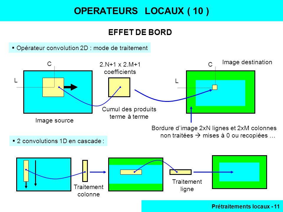 Prétraitements locaux - 11 EFFET DE BORD OPERATEURS LOCAUX ( 10 ) Opérateur convolution 2D : mode de traitement C L Image source Image destination Cum
