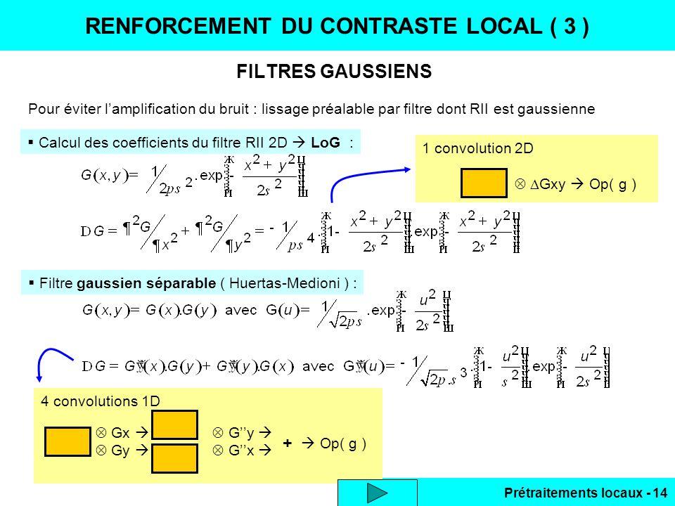Prétraitements locaux - 14 4 convolutions 1D Gx Gy Gy Gx + Op( g ) FILTRES GAUSSIENS RENFORCEMENT DU CONTRASTE LOCAL ( 3 ) Pour éviter lamplification