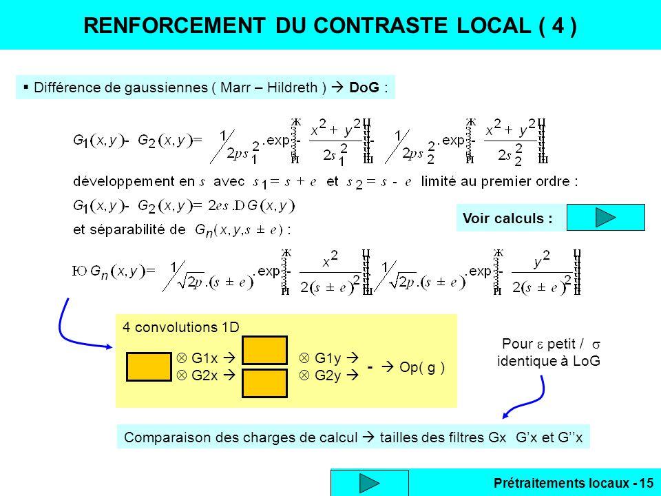 Prétraitements locaux - 15 RENFORCEMENT DU CONTRASTE LOCAL ( 4 ) Différence de gaussiennes ( Marr – Hildreth ) DoG : 4 convolutions 1D G1x G1y G2x G2y