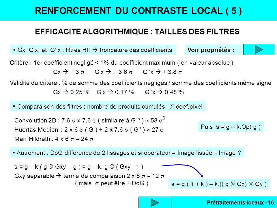 Prétraitements locaux - 16 EFFICACITE ALGORITHMIQUE : TAILLES DES FILTRES RENFORCEMENT DU CONTRASTE LOCAL ( 5 ) Gx Gx et Gx : filtres RII troncature d
