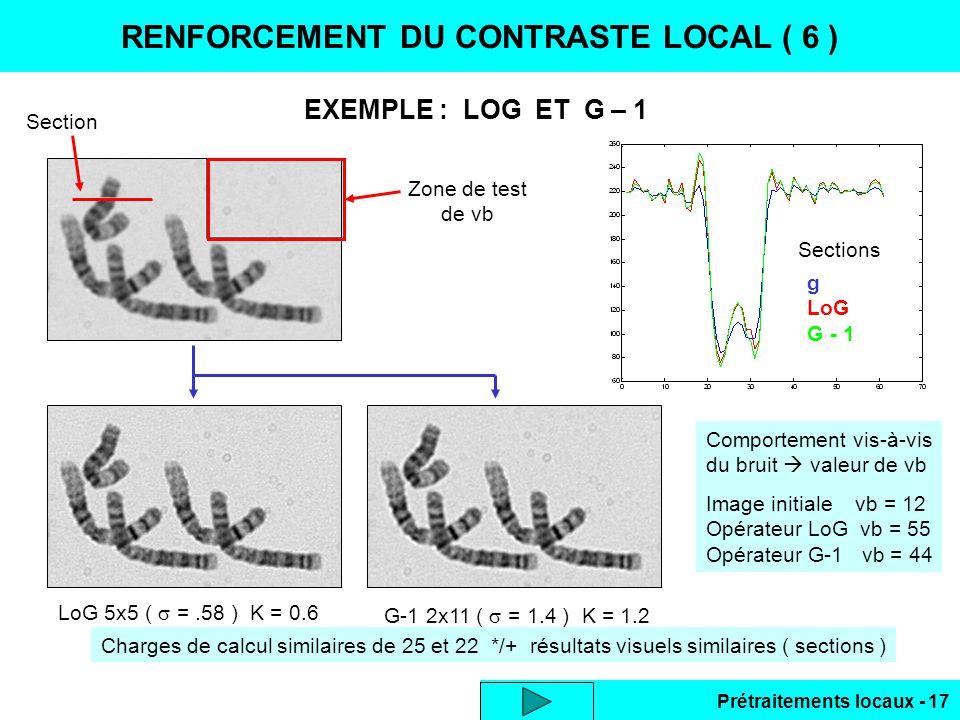 Prétraitements locaux - 17 Charges de calcul similaires de 25 et 22 */+ résultats visuels similaires ( sections ) EXEMPLE : LOG ET G – 1 RENFORCEMENT
