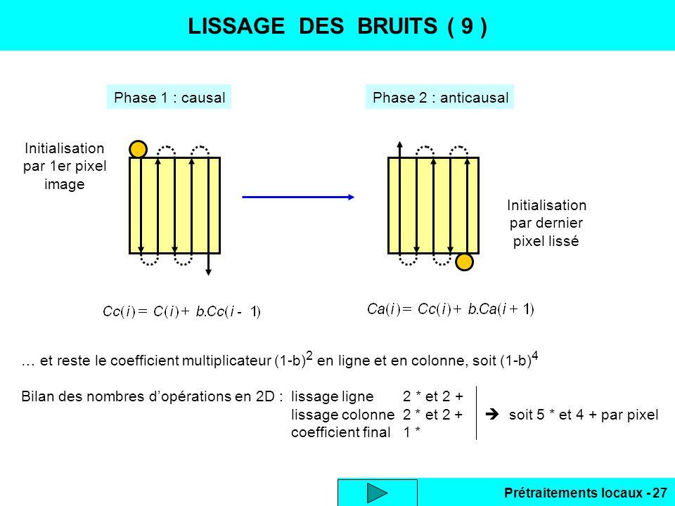 Prétraitements locaux - 27 LISSAGE DES BRUITS ( 9 ) Phase 1 : causalPhase 2 : anticausal Initialisation par 1er pixel image Initialisation par dernier