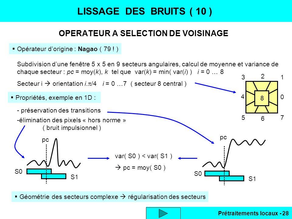 Prétraitements locaux - 28 LISSAGE DES BRUITS ( 10 ) OPERATEUR A SELECTION DE VOISINAGE Opérateur dorigine : Nagao ( 79 ! ) Subdivision dune fenêtre 5