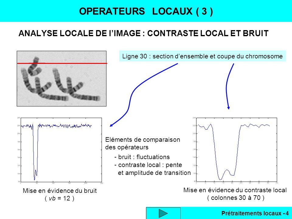 Prétraitements locaux - 25 LISSAGE DES BRUITS ( 7 ) Effet de bord identique à la forme RII tronquée initialisation des filtres = 1.15 taille 9, effet de bord sur 4 pixels réponse à un signal x(0) = 2, x(i) =1 pour i 0 sans initialisation : en bordures transition 0 1 avec initialisation : suppression de leffet de bord Algorithme avec initialisation Lissage dimage 2D : Filtre séparable, ordre indifférent, commutatif : E(y)E(x) Lissage colonne Lissage ligne Résultat lissage 2D