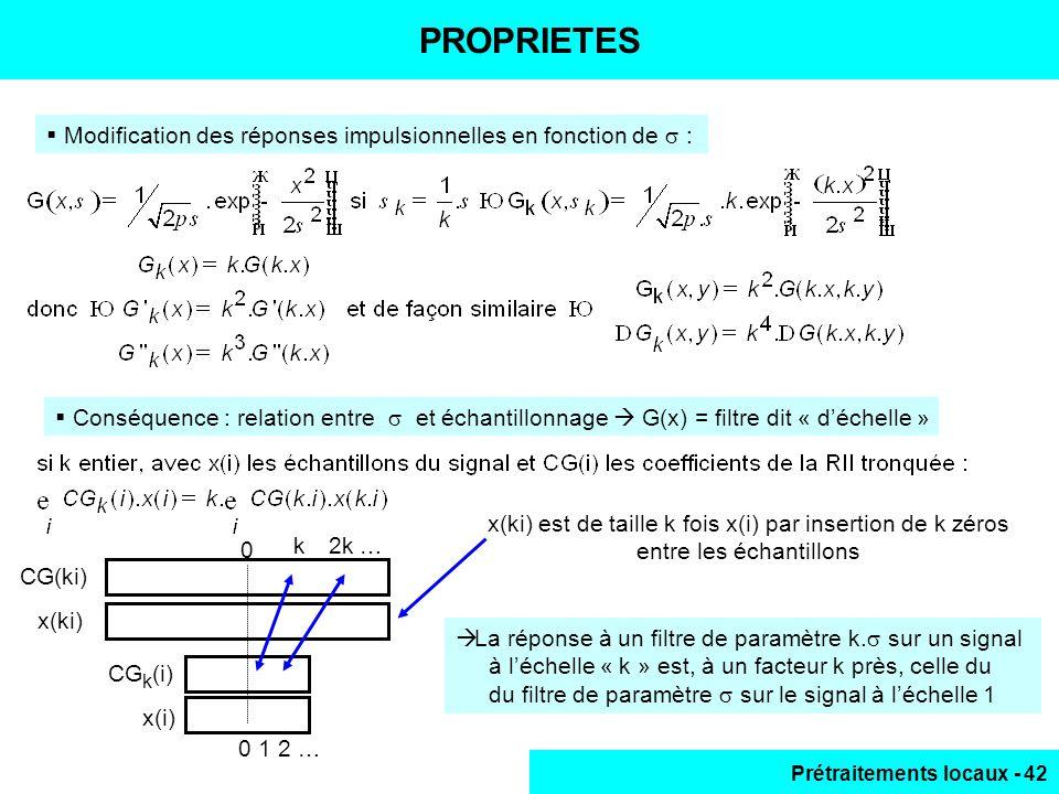 Prétraitements locaux - 42 PROPRIETES Modification des réponses impulsionnelles en fonction de : Conséquence : relation entre et échantillonnage G(x)