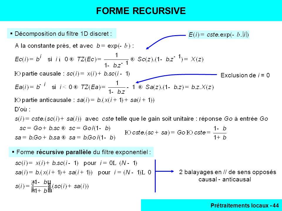 Prétraitements locaux - 44 FORME RECURSIVE Décomposition du filtre 1D discret : Forme récursive parallèle du filtre exponentiel : 2 balayages en // de