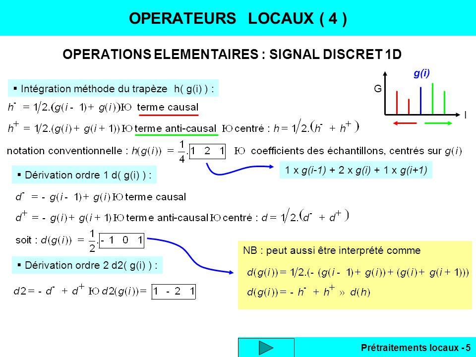 Prétraitements locaux - 6 SIGNAL 2D : FILTRES LINEAIRES RIF OPERATEURS LOCAUX ( 5 ) Intégration ou lissage 2D, voisinage centré 3x3 : Dérivation 2ème ordre laplacien, voisinage centré 3x3 : Dérivation 1er ordre 2 composantes du vecteur gradient, voisinage centré 3x3 :