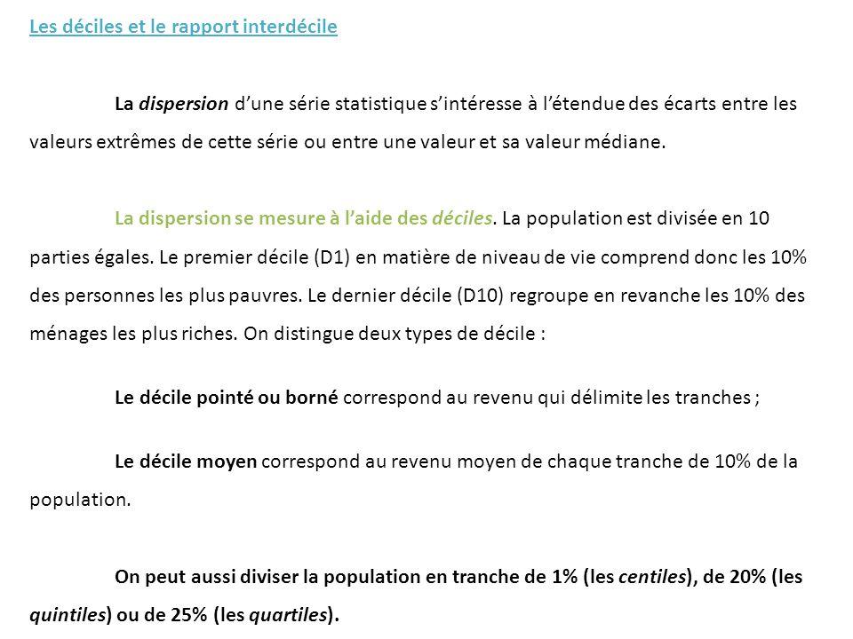 - le rapport interdécile : Il établit le rapport entre le dernier décile (le 9 ème ou le 10 ème ) et le 1 er décile.