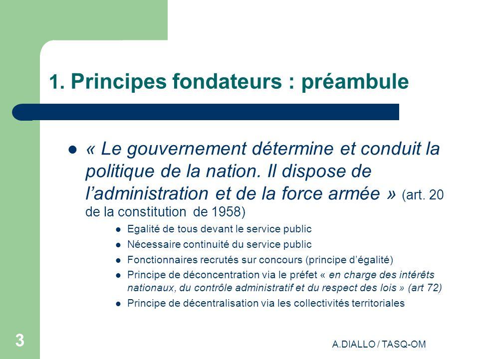 A.DIALLO / TASQ-OM 2 Organisation des Administrations et de lEtat français 1.