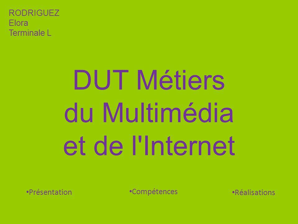 DUT Métiers du Multimédia et de l'Internet RODRIGUEZ Elora Terminale L Compétences Présentation Réalisations