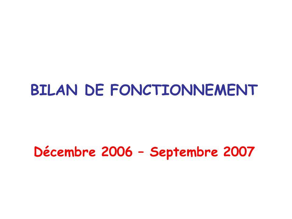 BILAN DE FONCTIONNEMENT Décembre 2006 – Septembre 2007