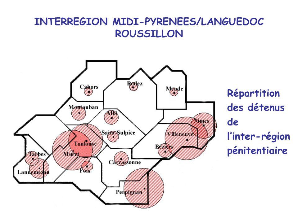 INTERREGION MIDI-PYRENEES/LANGUEDOC ROUSSILLON Répartition des détenus de linter-région pénitentiaire